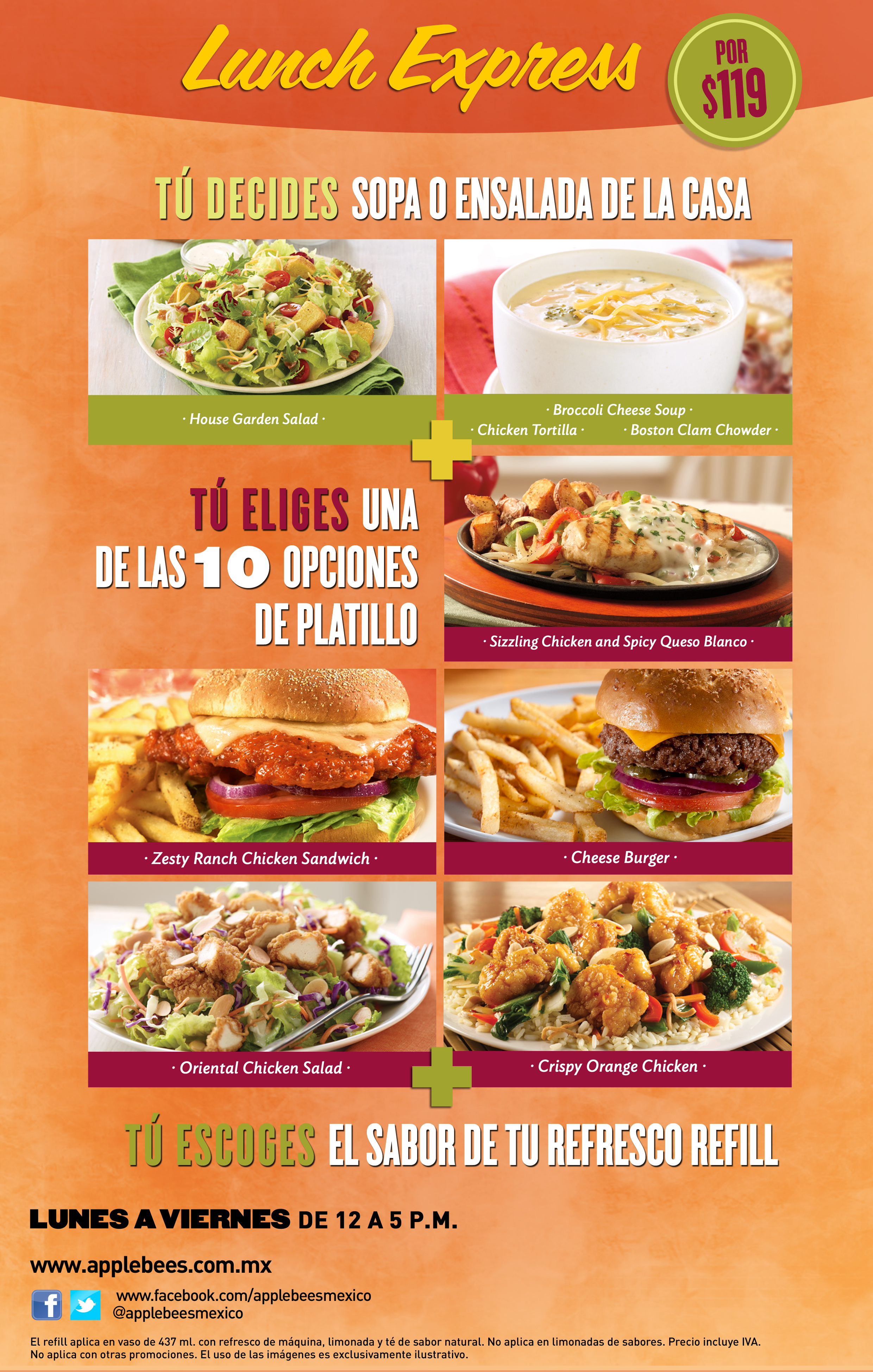 Applebee's Menu prices. The full Applebees menu, including the Applebees Carside To Go Menu, 20 for 20$ and 2 for 25$ Dinner, Drinks & Lunch menu & other specials.